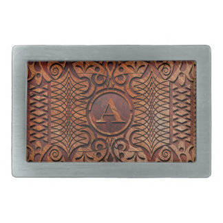 Simulated Wood Carving Monogram A-Z ID446 Rectangular Belt Buckle