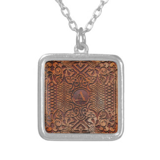 Simulated Wood Carving Monogram A-Z ID446 Silver Plated Necklace