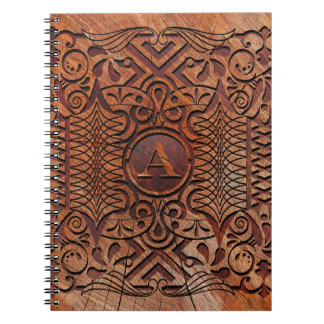 Simulated Wood Carving Monogram A-Z ID446 Spiral Notebook