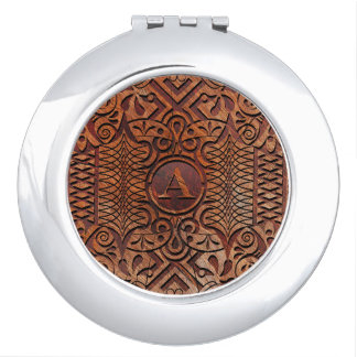 Simulated Wood Carving Monogram A-Z ID446 Travel Mirrors