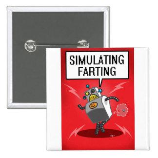 Simulating Farting 15 Cm Square Badge