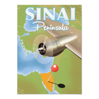 Sinai Peninsula Flight travel poster Card