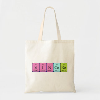 Sincere periodic table name tote bag
