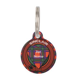 Sinclair clan Plaid Scottish tartan Pet ID Tag