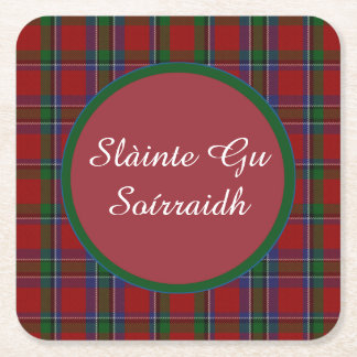 Sinclair Plaid Gaelic Toast Paper Coasters