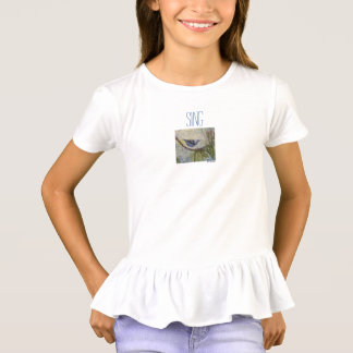 Sing Bird Watercolor Art Girls Ruffle T-Shirt
