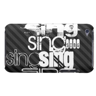 Sing; Black & Dark Gray Stripes Barely There iPod Cover