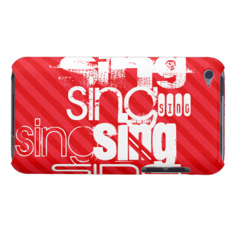 Sing; Scarlet Red Stripes Barely There iPod Cases