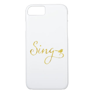Sing Song Bird Gold Faux Glitter Metallic Sequins iPhone 8/7 Case