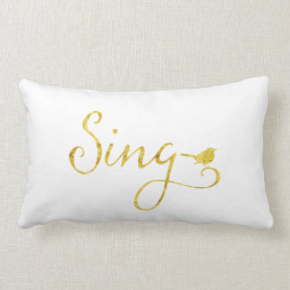 Sing Song Bird Gold Faux Glitter Metallic Sequins Lumbar Cushion