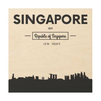 Singapore, China   City Coordinates Wood Print