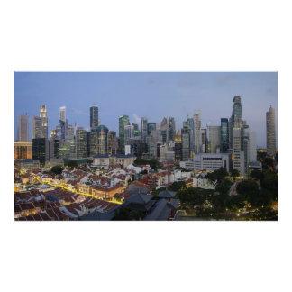 Singapore City Skyline Evening Poster