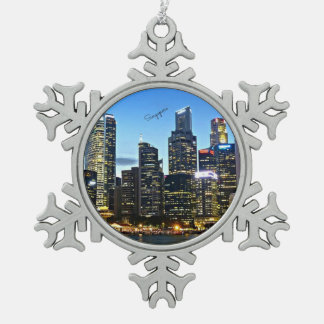Singapore cityscape snowflake pewter christmas ornament
