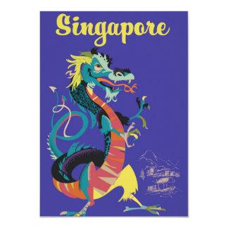 Singapore dragon vintage travel poster card