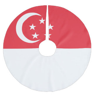 Singapore Flag Brushed Polyester Tree Skirt