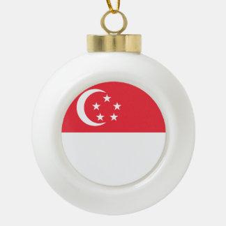 Singapore Flag Ceramic Ball Christmas Ornament