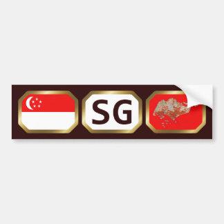 Singapore Flag Map Code Bumper Sticker