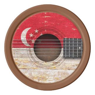 Singapore Flag on Old Acoustic Guitar Poker Chip Set