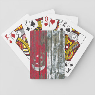 Singapore Flag on Rough Wood Boards Effect Poker Deck