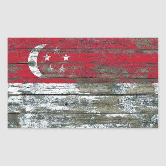 Singapore Flag on Rough Wood Boards Effect Rectangular Sticker