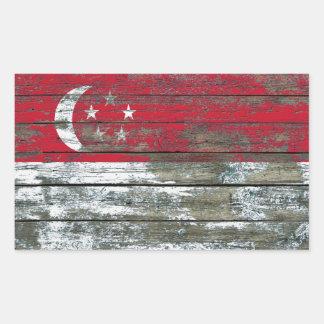 Singapore Flag on Rough Wood Boards Effect Rectangular Sticker