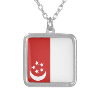 Singapore flag silver plated necklace