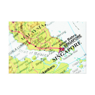 Singapore Map Stretched Canvas Prints