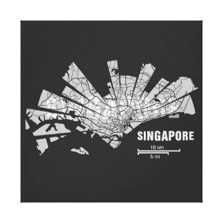 Singapore Map Wrapped Canvas Canvas Print