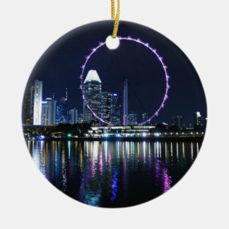 Singapore night skyline ceramic ornament