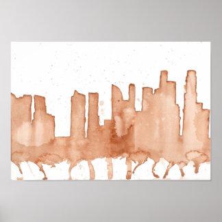 Singapore skyline brown watercolour poster