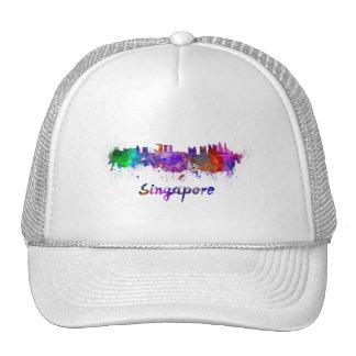 Singapore skyline in watercolor cap