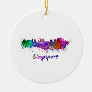 Singapore skyline in watercolor ceramic ornament