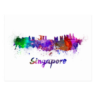 Singapore skyline in watercolor postcard