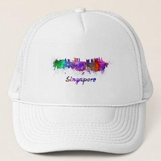 Singapore skyline in watercolor trucker hat