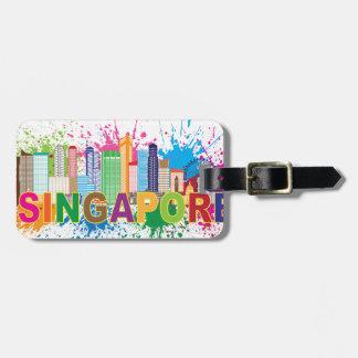 Singapore Skyline Paint Splatter Illustration Tags For Bags