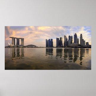 Singapore Skyline Sunset Poster