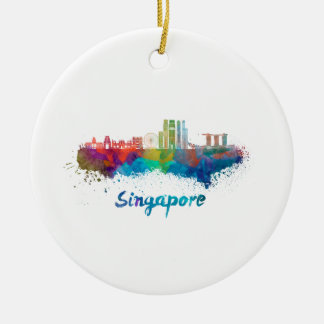 Singapore V2 skyline in watercolor Ceramic Ornament