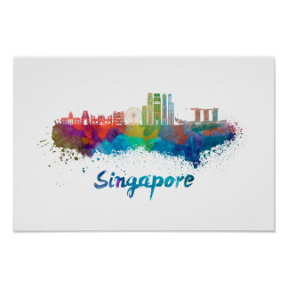 Singapore V2 skyline in watercolor Poster