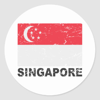 Singapore Vintage Flag Round Stickers