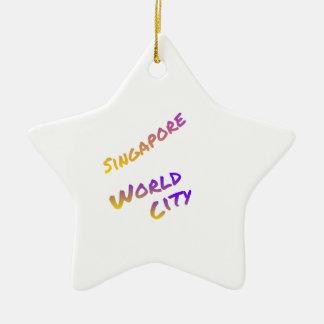 Singapore world city, colorful text art ceramic ornament