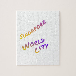Singapore world city, colorful text art jigsaw puzzle