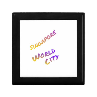 Singapore world city, colorful text art small square gift box