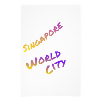 Singapore world city, colorful text art stationery