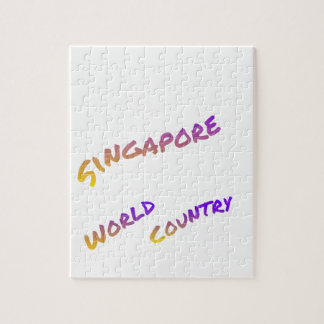 Singapore world country, colorful text art jigsaw puzzle