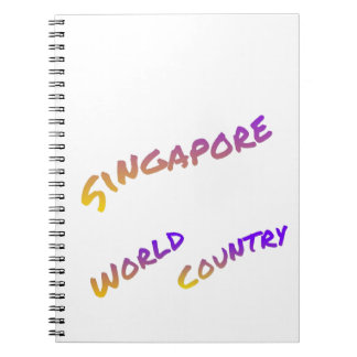 Singapore world country, colorful text art notebooks