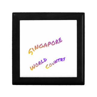 Singapore world country, colorful text art small square gift box