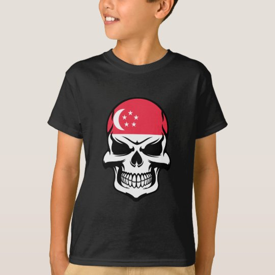 Singaporean Flag Skull T-Shirt