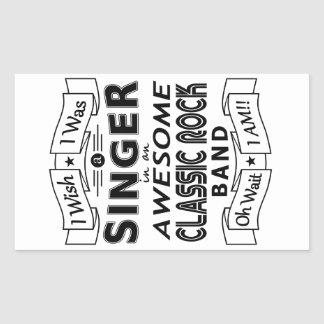 SINGER awesome classic rock band (blk) Rectangular Sticker