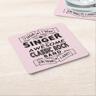 SINGER awesome classic rock band (blk) Square Paper Coaster