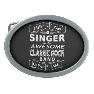 SINGER awesome classic rock band (wht) Oval Belt Buckles